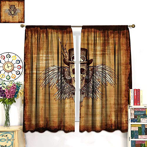 - Anniutwo Skull Blackout Curtain Cool Skull Icon on Parchement Background Retro Style Dead on Eagle Wings Gothic Room Darkening Curtains Brown Orange W63 x L63 inch
