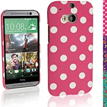 iGadgitz Pink with White Polka Dot Hard Plastic Case for HTC One M8 2014 + Screen Protector