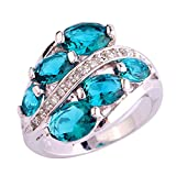 Psiroy 925 Sterling Silver Chic Lady's Green Topaz Vine Shape Filled Ring Band