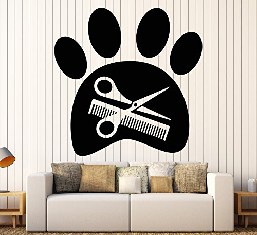 - Vinyl Wall Decal Beauty Salon For Pet Grooming Paw Scissors Stickers Large Decor (1221ig) Dark Blue