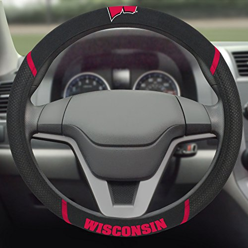 FANMATS  14933  NCAA University of Wisconsin Badgers Polyester Steering Wheel Cover