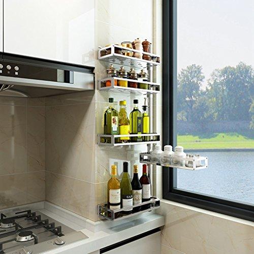 Bastidores de cocina de varios pisos, estantes de almacenamiento de especias de acero inoxidable de pared en esquina,...