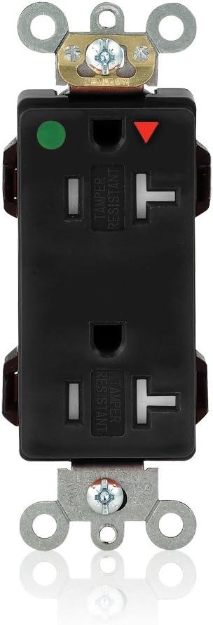 Leviton MDT83-IGE Lev-Lok Tamper-Resistant, Hospital Grade, Isolated Ground, Lev-Lok 20-Amp, 125 Volt, 2P, 3W, Modular Wiring Device Decora Duplex Receptacle, Black