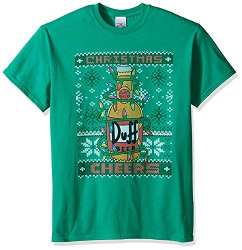 The Simpsons Men's Duff Beer Cheers Ugly Christmas T-Shirt, Kelly, Medium (Simpsons Beer Duff T-shirt)