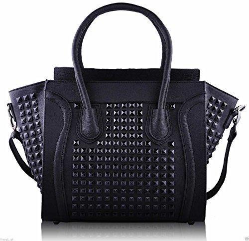 Womens Designer Faux Leather Celebrity Style Studded Smile Tote Handbags Shoulder (Studded Purse)