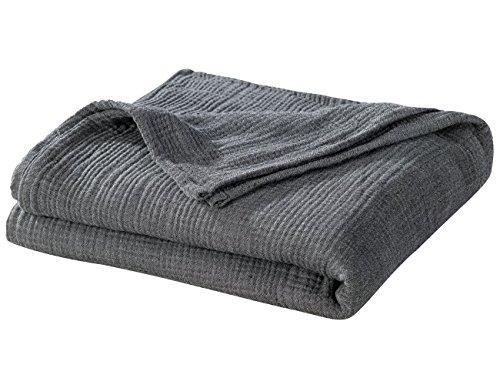 PHF Yarn Dyed Cotton Muslin Throw Adult Blanket Soft for Sofa Couch Chair in Winter Home Decorative 50 x 60 Dark Grey