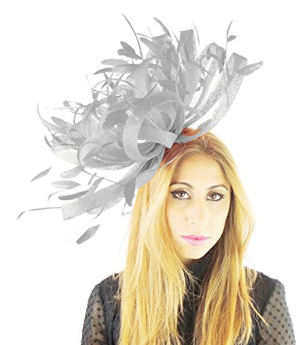 Hats By Cressida Large Sinamay and Feather Ascot Fascinator Hat 155 with Headband (Silver Grey)