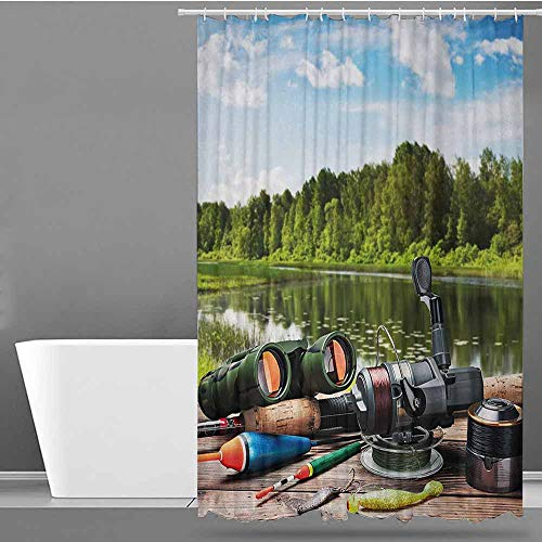 ONECUTE Bathtub Splash Guard,Hunting Fishing Tackle on a Pontoon Lake in The Woods Trees and Greenery Freshwater Hob,Art Print Polyester,W48x72L Multicolor