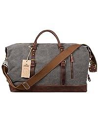 S-ZONE Oversized Canvas Leather Trim Duffel shoulder handbag Weekend Bag (Gray)