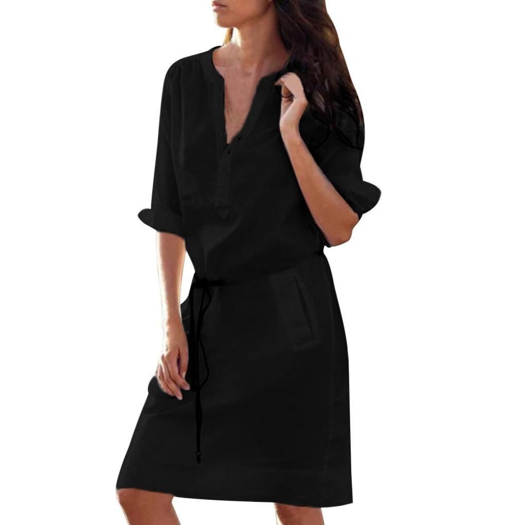 VEMOW Sommer Herbst Mid-Season Elegante Damen Frauen Maxi Half Sleeve Tasten mit V-Ausschnitt Kleid Casual Daily Party Strand lose dünne Tasche Shirt Kleider