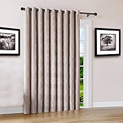 "Warm Home Designs Extra Wide 110"" x 84"" Linen (Taupe) 100% Blackout Insulated Thermal Patio Door Panel. Drapery Can Be Used As Room Breaker or Sliding Door Curtains. JE Linen 110 x 84"
