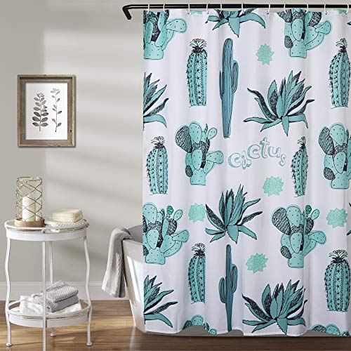 Uphome Pastel Cactus Fabric Shower Curtain, Summer Tropical Desert Prickly Pear Floral Cloth Shower Curtain Water Repellent Bathroom Curtains for Shower with Hooks Set, 72X72 -