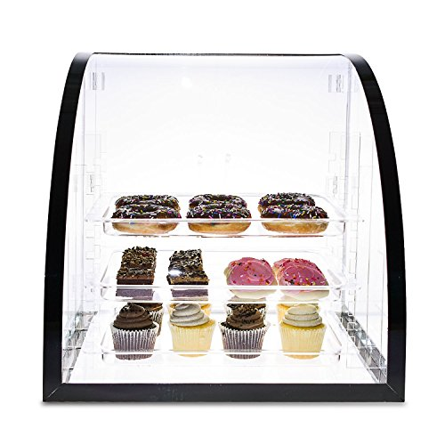 Source One LLC Deluxe Food & Bakery Display Case Countertop Large Clear Premium Acrylic 18 x 16.5 x 18 Inch 3 Adjustable Shelves by SOURCEONE.ORG