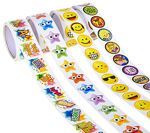 Juvale Achievement Stickers - 4-Pack Assorted Reward Stickers Roll, 600 Count, Includes Motivational Stickers, Encouragement Stickers, Smiley Emojis Stars, Ideal Students, Teacher, Kids, Party Favors by Juvale