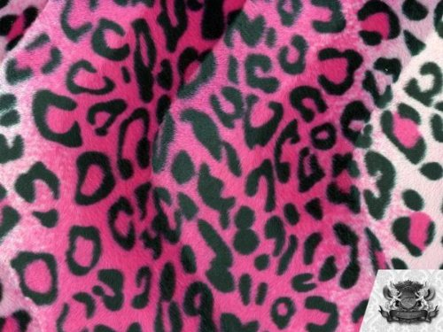 Velboa Faux / Fake Fur Leopard PINK/BLACK Fabric By the Yard