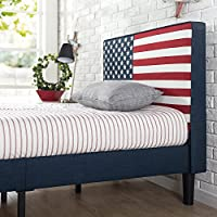 Zinus Upholstered USA Flag Design Platform Bed / with Less than 3 inch Spacing / Wood Slat Support, Twin