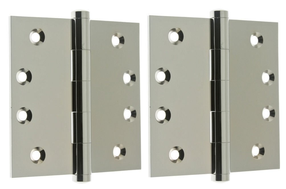 """Professional Grade Quality Solid Brass 4"""" x 4"""" Full Mortise Square Corner Door Hinges (84040) (Pair) (Polished Chrome)"""