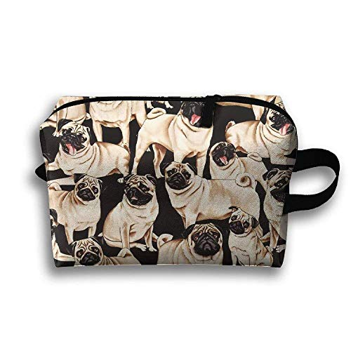 kjaoi Pugs Dogs Bulldog Puppy Life Travel Cosmetic Makeup Storage Pouch -