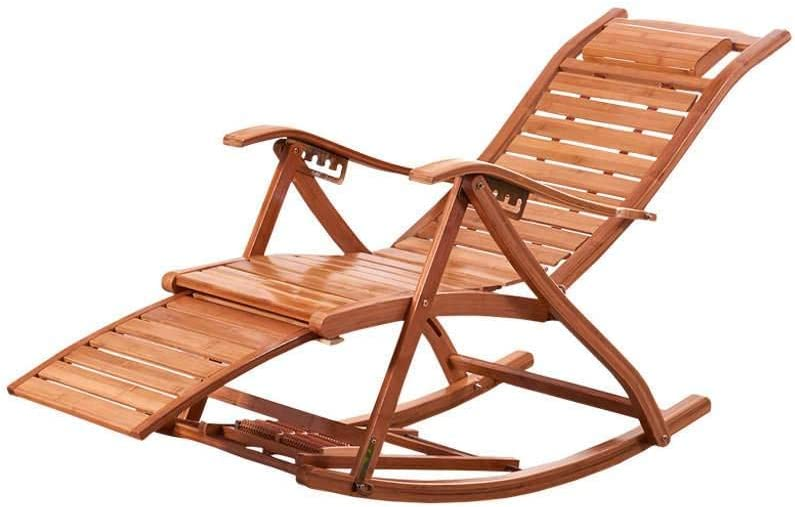 MO&SU Folding Rocking Chair, Portable 170Degree Adjustment Patio Chaise Lounger Recliner Recliner Garden Chair-A