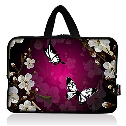 AUPET Nice Flower & Butterfly Universal 7~8 inch Tablet Portable Neoprene Zipper Carrying Sleeve Case Bag