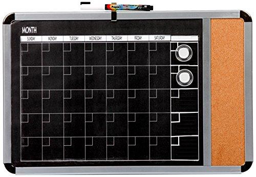 Dooley Metallic Framed Magnetic Black Surfaced 1 Month Calendar, Cork Strip, 11 x 17 Inches (1117CALMTC) by Dooley