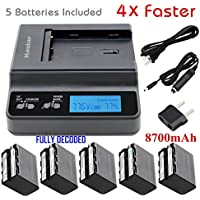 Kastar Ultra Fast Charger(4X faster) Kit and Battery (5-Pack) for Sony NP-F970 NP-F960 F960 and DCR-VX2100 HDR-AX2000 FX1 FX7 FX1000 HVR-HD1000U V1U Z1P Z1U Z5U Z7U FS100U FS700U and LED Video Light