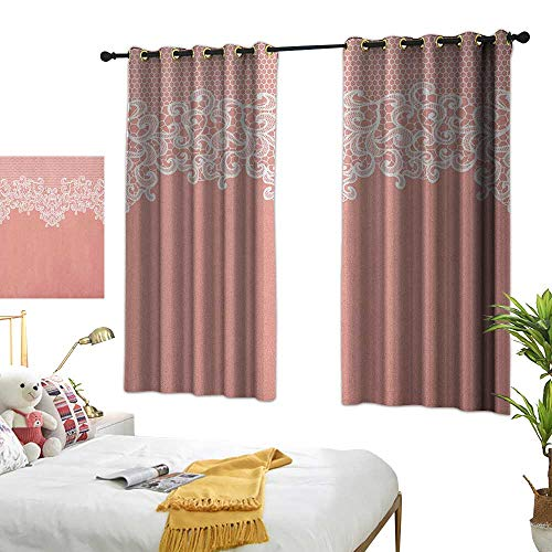 Bedroom Curtain W55 x L63 Peach,Abstract Lace Design Wedding Engagement Inspiration Floral Arrangement Pale Backdrop, Coral White Living Room Dining Room Kids Youth Room Window Drapes ()