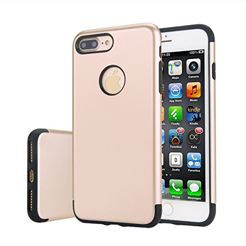 Price comparison product image iPhone 7 Plus Case, Moonmini Shockproof Slim Fit Dual Layer Armor Protective Shock Absorbing Hybrid Defender Cover for iPhone 7 Plus Golden