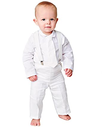 680bc35459a Amazon.com  Landen Baby Suspender Christening Baptism Outfit  Clothing