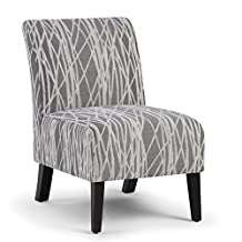 Simpli Home Woodford Accent Chair, Grey & White