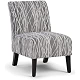Simpli Home AXCCHR-008-G Woodford Accent Chair, Grey/White