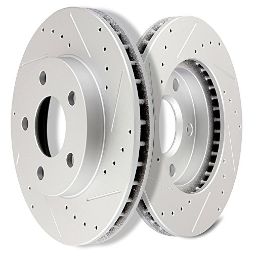 SCITOO Brakes Rotors 2pcs Front Drilled Slotted Discs Brake Rotors Brakes Kit fit 1998-2003 Chevrolet Malibu,1999-2004 Oldsmobile Alero,1997-1999 Oldsmobile Cutlass,1999-2005 Pontiac Grand Am