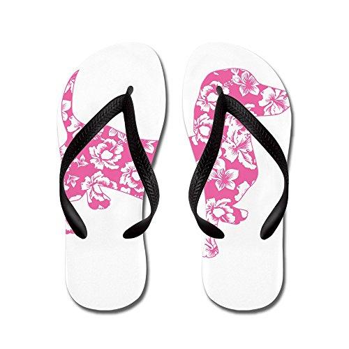 Cafepress Hawaiian Rosa Doxie Tax - Flip Flops, Roliga Rem Sandaler, Strand Sandaler Svart
