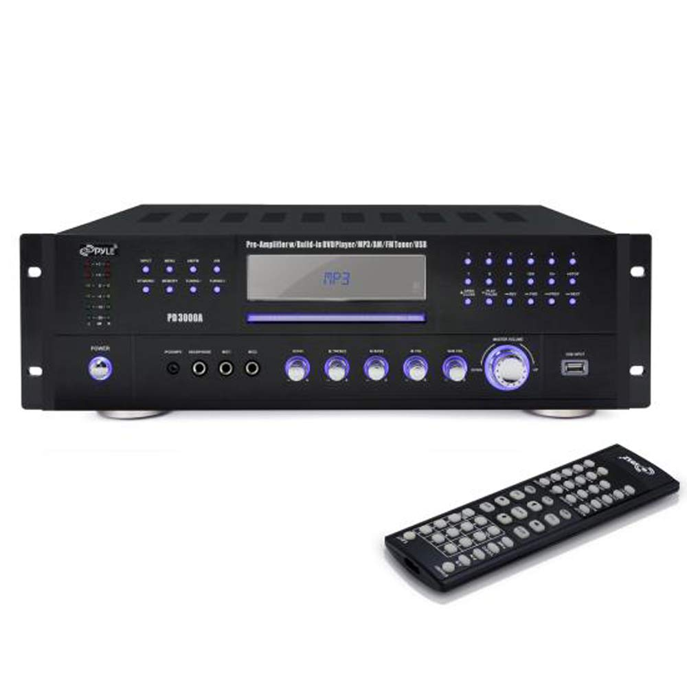 Pyle 4 Channel Home Audio Power Amplifier 3000 Watt Wiring Diagrams Of Tv And Stereo Components With Av Surround Receiver W Speaker Selector Am Fm Radio Usb Headphone 2 Microphone Input For