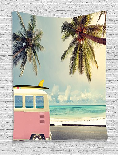 "Ambesonne Surf Tapestry, Minivan The Beach Retro Inspired Vacation Clouds in Summer Sky Honeymoon Destination, Wall Hanging for Bedroom Living Room Dorm, 60"" X 80"", Blue Blush"