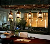 DMMSS Glass Solid Push Button Pendant Rectangle Theme Restaurant Chandelier Creative Retro Caf¨¦ Tearoom Industrial Wind Art Lamps For 10-15 M2 (120 96Cm) Adjustable