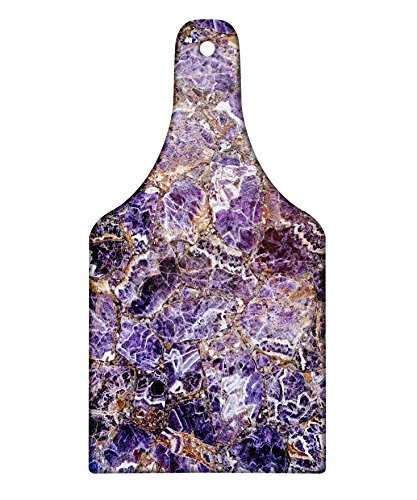 Italian Marble Fruit - Lunarable Marble Cutting Board, Italian Style Stone Surface in Shady Stylized Renaissance Effects Image, Decorative Tempered Glass Cutting and Serving Board, Wine Bottle Shape, Dark Purple Violet