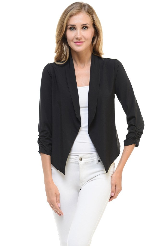 Auliné Collection Womens Casual Lightweight 3/4 Sleeve Fitted Open Blazer Black Large