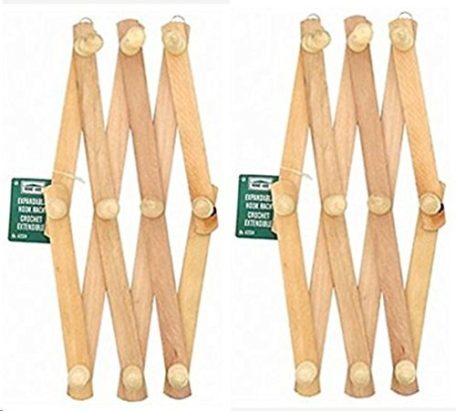 Set Of 2 - Home-Aide Expandable Hook Wood Wall Peg Rack - Wooden Expanding Accordian Style