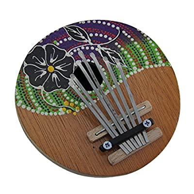Wood Thumb Pianos Hand Crafted Coconut And Wood 7 Key Hibiscus Flower Mbira Thumb Piano 5.25 X 2 X 5 Inches Multicolored