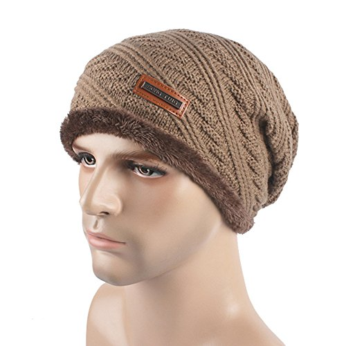 URIBAKE ❤ Unisex Baggy Beanie Thick Crochet Winter Warm Wool Lining Knitted Ski Skull Slouchy Caps Hat ()