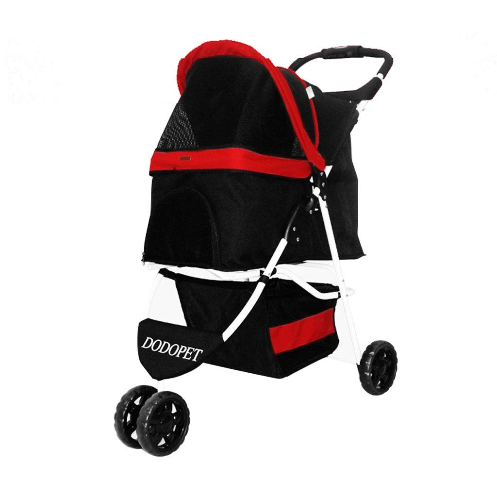 Red GWM Backpacks Three Wheel Pet Stroller Dog Pushchair Travel Carrier, Lightweight Folding Dog Cat Cart, Shockproof, Front Wheel 360° redation,Rear Wheel with Brake (color   Red)