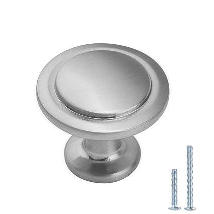 Lizavo Brushed Satin Nickel Kitchen Cabinet Knobs Modern Round Pulls Hardware For Drawer Dresser 1 1 4 Inch Diameter 10 Pack