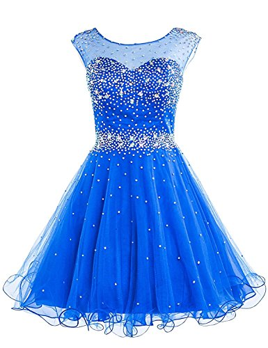 (Sarahbridal Women's Short Tulle Beaded Squin Homecoming Dresses for Sweet 16 Prom Cocktail Gowns Royal Blue US14)