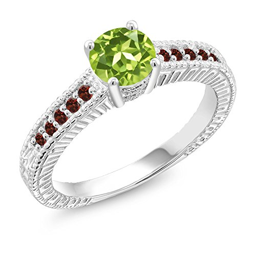 1.05 Ct Round Green Peridot Red Garnet 925 Sterling Silver Ring (Size 7) -