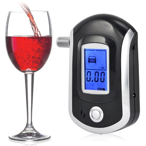 Fenrad Professional Digital Breath Alcohol Analyzer Tester LCD Display Breathalyzer with Keychain and 5 Mouthpiece Black