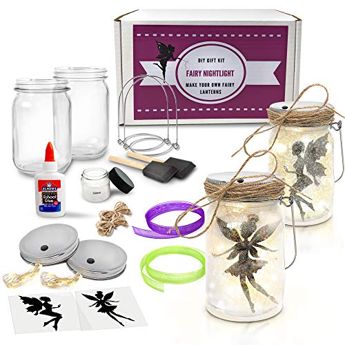 Fairy Nightlight Lantern Craft Kit (2 Pack) - DIY Make Your Own Fairy Lantern Jar - Craft Project for Kids - Great Gift (Fairy Lantern 2 Pack) ... ()