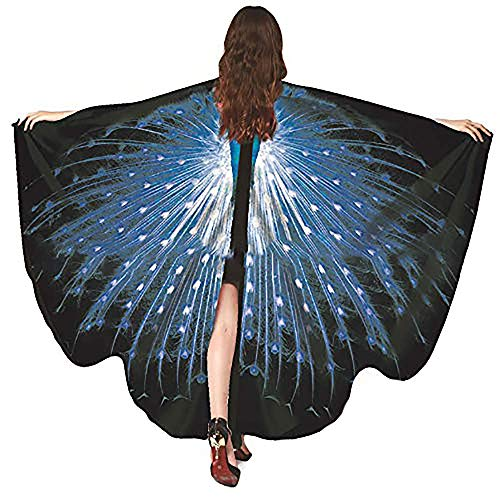 Bagood Halloween Party Show Ladies Soft Fabric Butterfly Wings Shawl Fairy Nymph Pixie Costume Accessory RoyalBlue