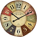 Vintage/Country Style Wooden Silent Round Wall Clocks Decorative Clocks,S