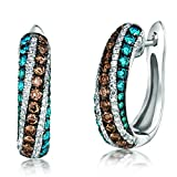 LeVian Exotics Chocolate and Blueberry Diamond Pave Earrings Set in 14K White Gold